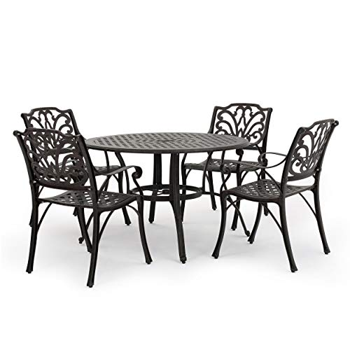 Christopher Knight Home Alfresco Outdoor Cast Aluminum Circular Dining Set, 5-Pcs Set, Bronze