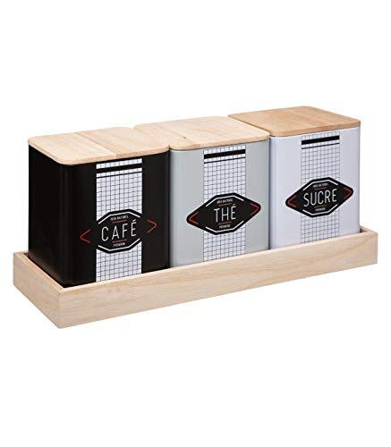 Five - Set de 3 Boîtes en Métal et Bois pour conserver Café, Thé et Sucre