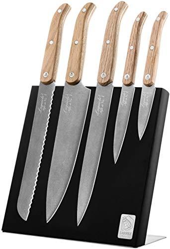 Laguiole Style de Vie Messenblok Innovation Line, 5-delig, Zwart, Stonewash finish, houten handgrepen, Magnetische messenhouder, Met RVS voet