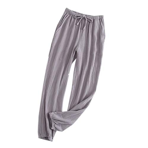 Pantalones Caseros Sueltos De AlgodN De Verano para Hombres Y Mujeres Pantalones De Pijama De Crep De AlgodN Cerrados Amantes De AlgodN Sueltos