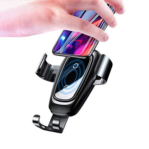 Baseus Handy Halterung für Auto, Kabelloses Autoladegerät, 10w Qi Charge für Galaxy S10 + S9 S8 S8 Plus, 7.5W für iPhone 11 Pro XS X 8 Plus Huawei Mate 30 Pro - Schwarz