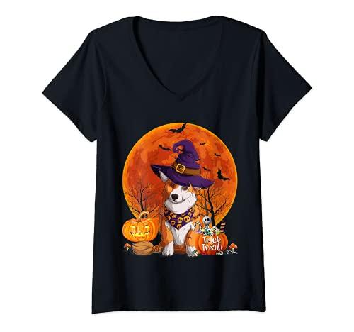 Mujer Funny Welsh Corgi Feliz Halloween Disfraz Mujeres Hombres Niños Camiseta Cuello V