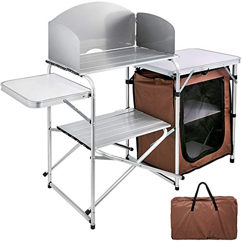 VBENLEM Outdoor 2-Tier, Kitchen Zippered Bag, Portable Folding Cook Table for BBQ, Party, Camping, Brown Color