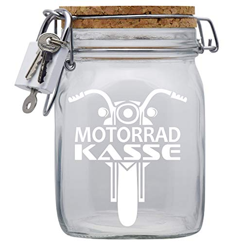 Spardose Motorrad Biker Kasse in Glas L