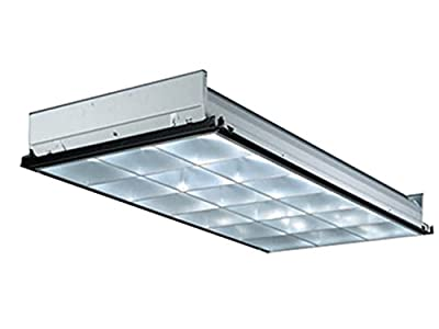 Lithonia Lighting 3-Light 32W T8 Fluorescent Contractor Select Parabolic Troffer with Two Ballast