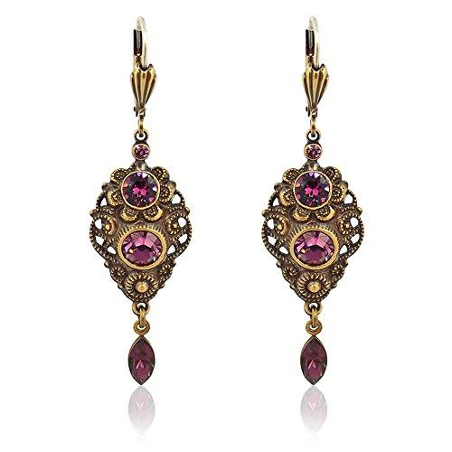 NOBEL SCHMUCK Jugendstil Ohrringe mit Kristallen von Swarovski® Lila Antik Gold Amethyst