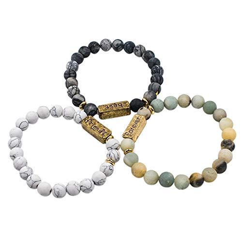 AUEAR, Pack of 3 Best Friends Forever Bracelet Inspirational Friendship Bracelets for Sister Women Girls