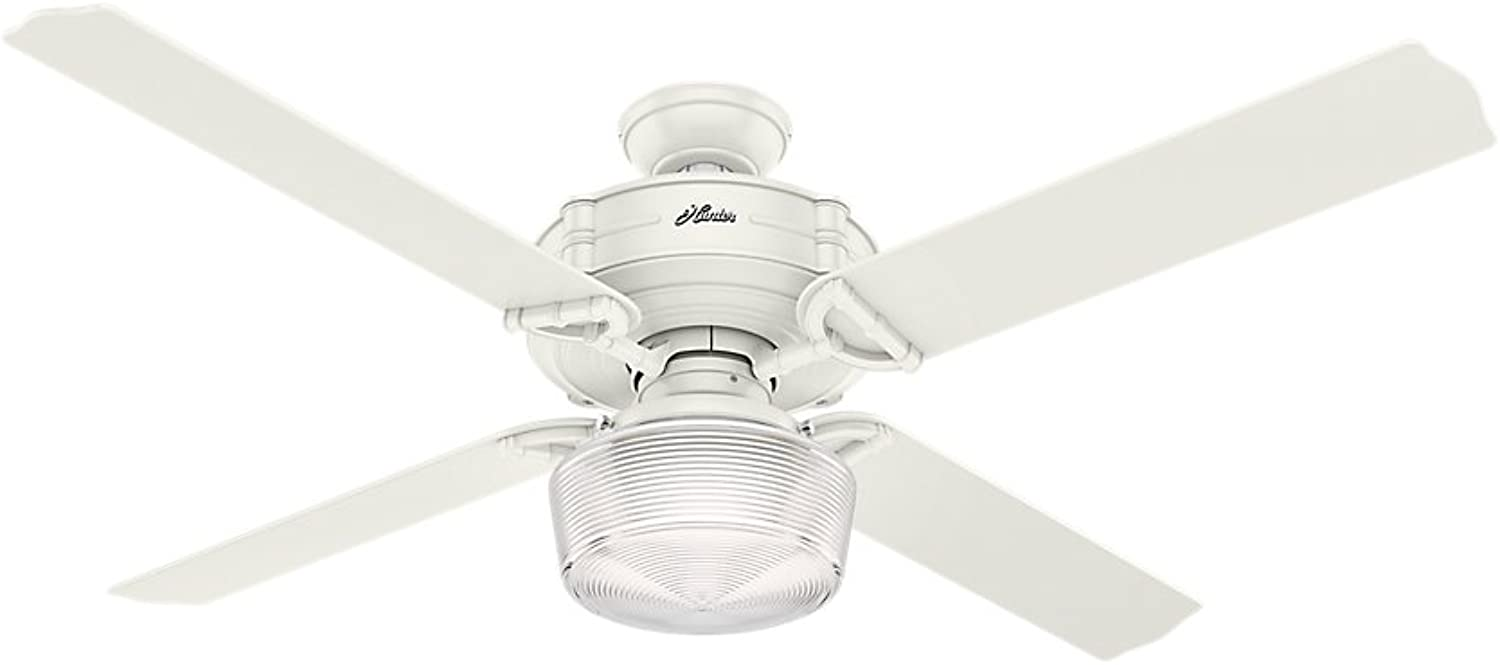 Hunter 54176 Brunswick Ceiling Fan with Glode Light with Integrated Control System, 60-inch, Fresh White, works with Alexa