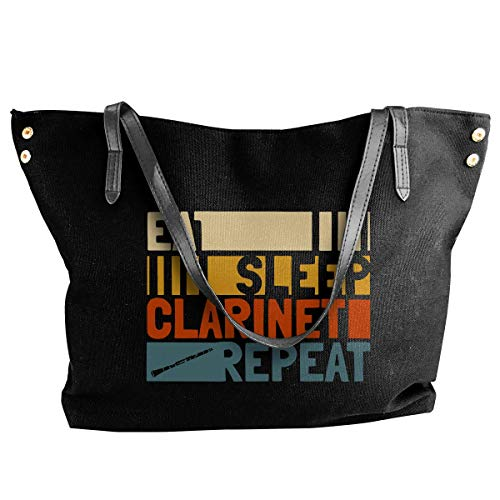 shuangshao liu shliu-1 Borsa a tracolla Eat Sleep Clarinet Repeat Canvas Borsa...