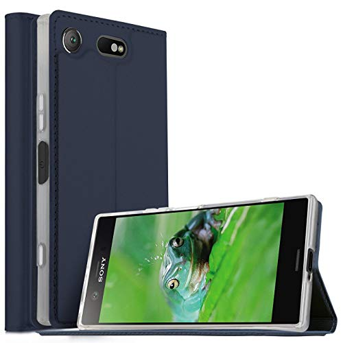 Verco Handyhülle für Xperia XZ1 Compact, Premium Handy Flip Cover für Sony Xperia XZ1 Compact Hülle [integr. Magnet] Book Hülle PU Leder Tasche, Blau