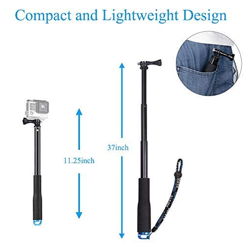 VVHOOY Waterproof Selfie Stick Extendable 11.25-37inch Handheld Aluminum Telescopic Pole Monopod Compatible with Gopro Hero 8 7 6,AKASO EK7000,Brave 4,V50,Crosstour,Victure,Campark ACT74 Action Camera