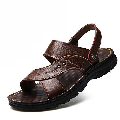 MIAO. NAF,Sandalias de Cuero Suave de Verano Zapatos de Playa de Verano Zapatos Casuales de Verano, Sandalias de Doble Uso, Zapatos de Marea Sandalias para Hombres Transpirables,Marrón,40