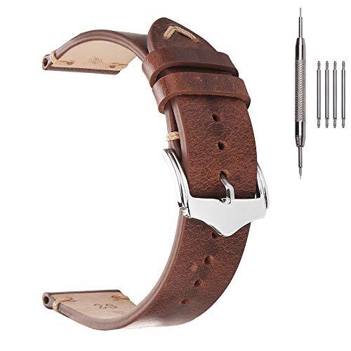 22mm Watch Strap,EACHE Oil Wax Leather Watchband,Men Women Watch Replacement,Light Brown