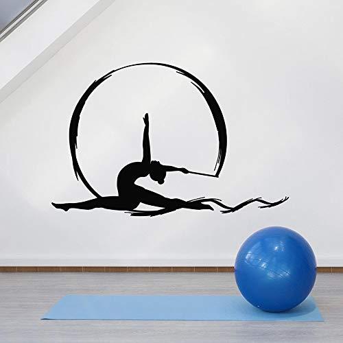 Vinyl muur sticker artistieke gymnastiek antenne zijde Sport dansend meisje Art raam Stickers meisjes slaapkamer Home Decor muurschildering