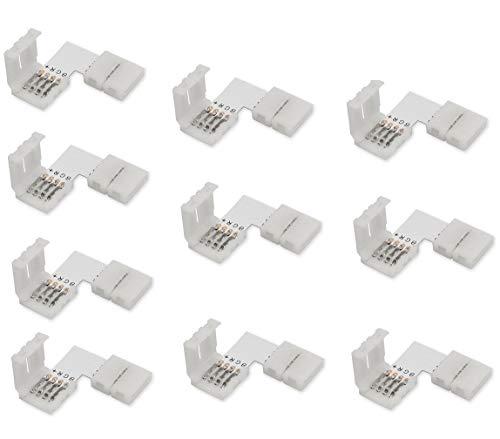 Cooligg 10x L Form LED RGB Eckverbinder 4 polig 10mm mit Clip vom DE Händler, Verbinder für LED Streifen SMD 5050 Led Strips Connector Steckverbinder Schnellverbinder, LED Zubehör, Rechnung