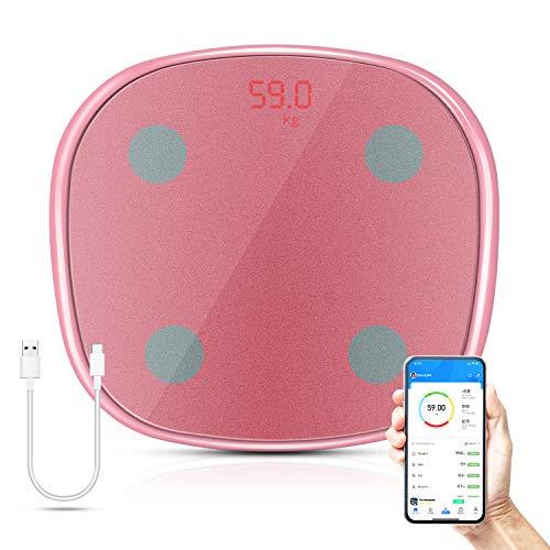 Körperfettwaage, Uong Personenwaage Digital mit APP, Bluetooth Waage für Körperfett, BMI, Gewicht, Muskelmasse, Wasser, Protein, Skelettmuskel, Knochengewicht, usw. | kg + lb | max.180kg