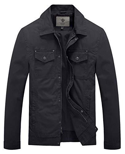 WenVen Men's Spring Outdoor Lightweight Military Cotton Jacket(Grey,Small)