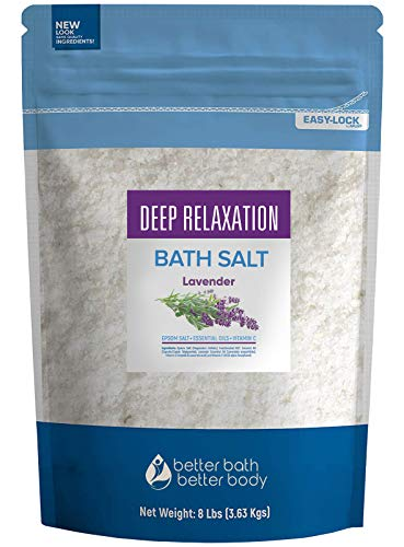 Deep Relaxation Bath Salt 128 Ounces Epsom Salt with Natural Lavender Essential Oil Plus Vitamin C in BPA Free Pouch with Easy Press-Lock Seal