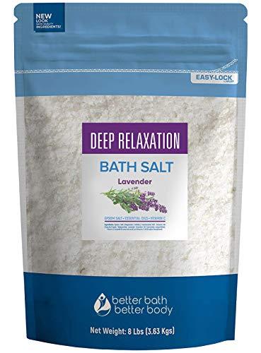 Deep Relaxation Bath Salt 128 Ounces Epsom Salt with Natural Lavender Essential Oil Plus Vitamin C in BPA Free Pouch