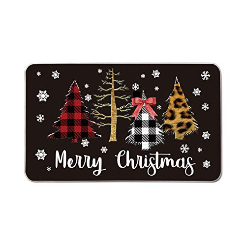 AVOIN Buffalo Plaid Xmas Trees Merry Christmas Decorative Doormat, 17 x 29 Inch Winter Holiday Non-Skid Low-Profile Floor Mat Switch Mat Indoor Outdoor Home Garden