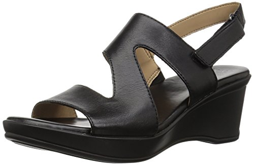 Naturalizer Women's Valerie Wedge Sandal, Black, 7 Narrow US