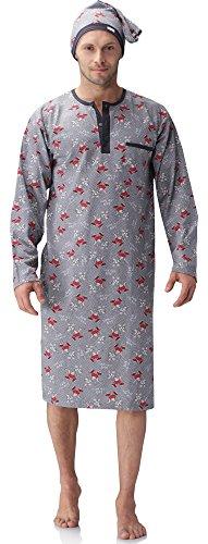 Cornette Herren Nachthemd mit Schlafmütze 110V2016 (Grau(Ratte), S)