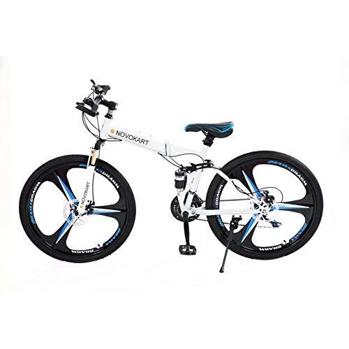 Mountain Bike Pieghevole per Studenti e Giovani,Bicicletta Sportiva da Montagna Adolescenti, MTB con 24-Stage Shift, 26 Pollici 3 Taglierina, Bianco