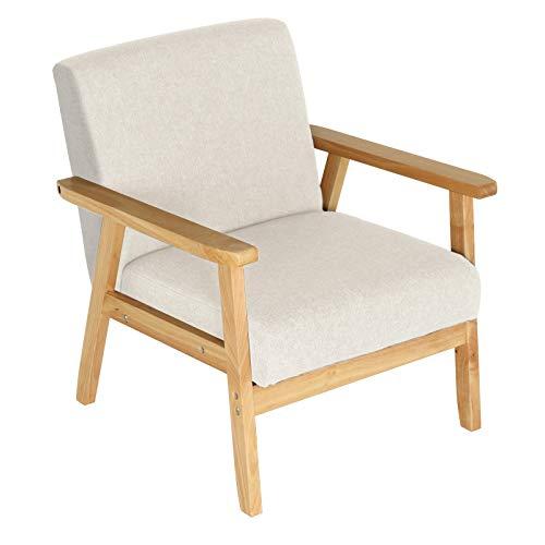 MorNon Sessel Leinen mit Retro Massivholz Grau Einzelsofa Gepolsterter Massivholzrahmen Relax Gepolsterter Loungesessel Eleganter Beige für Wohnzimmer Esszimmerstuhl