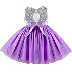 Purple07 Tulle Tutu Baby Dress With Sequins Age 3-9 Years