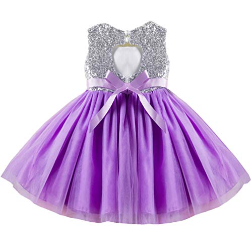 Princess Formal Special Occasion Dress for Girl 3t 4t Kids Shiny Sequins Brithday Tulle Tutu Cute Puffy Ruffle Lace Party Girls Dresses Purple Lil Lavender Mauve Easter Christening Baptism Girl Dress