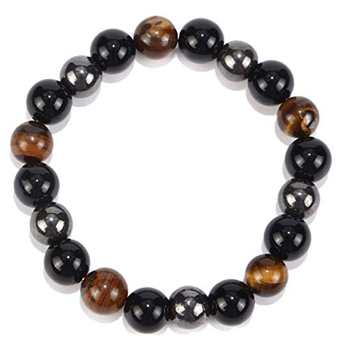 Linjink Tiger Eye Triple Protection Hematite and Black Obsidian Bracelet?Self-confidence Return Negative-energy Witch Wizard - Black And Brown