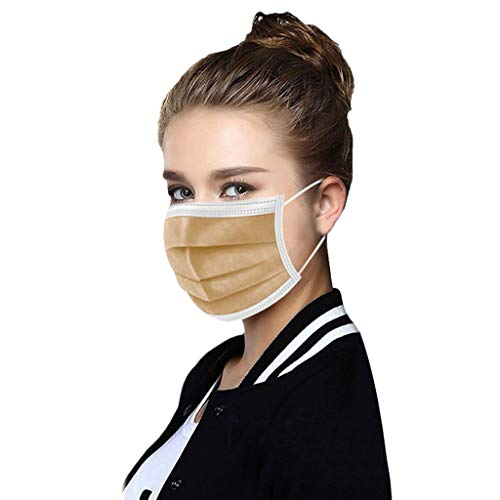 YOKOKO 50PC Disposable_Face_Masks Unisex Oral Protection 3-Layer Filtration Facial_Guard Dustproof_Face_Mask High Filtration and Ventilation Security (Brown)