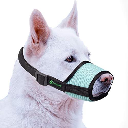 ILEPARK Hunde Maulkorb mit atmungsaktivem Netzbezug Verstellbare und weicher Hundemaulkorb zur Verhinderung von Beißen, Kauen und Bellen (S,Grün)