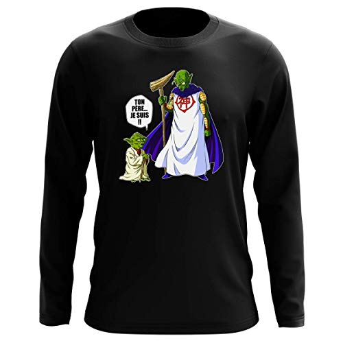 T-Shirt Manches Longues Noir Parodie Dragon Ball Z - Star Wars - Yoda et Dieu - Ton père. Je suis !! (T-Shirt de qualité Premium de Taille XL - imprimé en France)