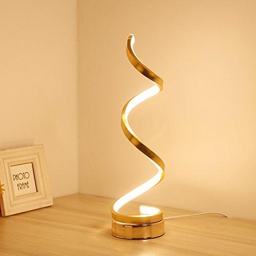 LEDMOMO Lámpara de mesa LED espiral moderna lámpara de mesa de acrílico minimalista lámpara de noche curvada luz de noche para la decoración del hogar sala de estar oficina niños cálidos