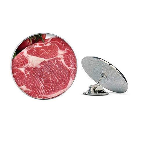 Broche de metal redondo com textura de carne crua carne vermelha