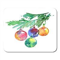 マウスパッド安物の宝石クリスマスツリーブランチバブルクリスマスで光鮮やかなマウスパッド用ノートブック、デスクトップコンピュータマウスマット、オフィス用品