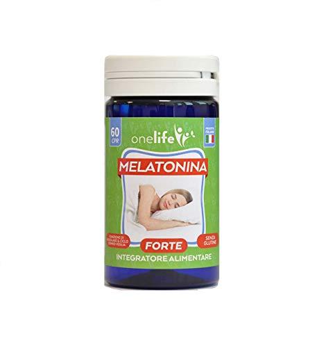 Melatonina Forte | OneLife | Integratore per Dormire, Riposare Meglio e Rilassarsi, 60 Compresse da 1 mg di Melatonina