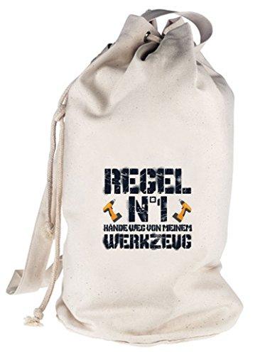 ShirtStreet Handwerker bedruckter Seesack Umhängetasche Beutel Bag Hände weg von meinem Werkzeug, Größe: onesize,natur