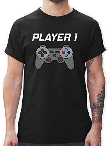 Partner-Look Familie Papa - Player 1 Vintage - M - Schwarz - Player 1 - L190 - Tshirt Herren und Männer T-Shirts