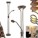 Lámpara de pie LED Heuru, redonda, regulable, de metal en bronce y cristal, con regulador de intensidad en la carcasa, 1 LED de 18 W, 1 LED de 5 W, máx. 2950 K, máx. 2400 lúmenes