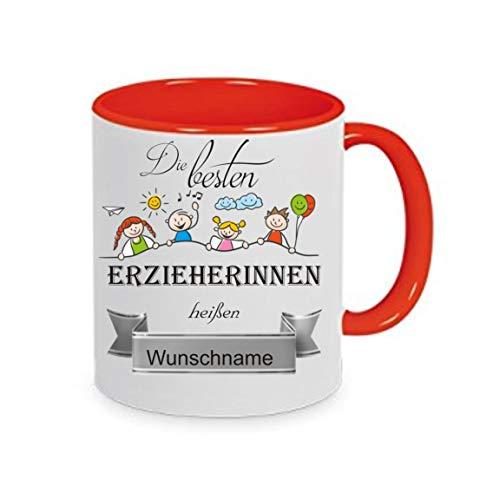 Crealuxe Tasse m. Wunschname Die besten Erzieherinnen heißen. Wunschname - Kaffeetasse mit Motiv, Bedruckte Tasse mit Sprüchen oder Bildern