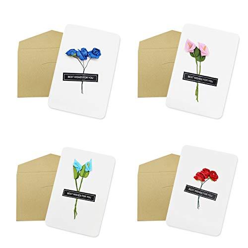 Dylan-EU 4 Grußkarte mit 4 Geschenk Umschlag Dankskarten Retro Einladungskarte mit Plastikblume Danken Ihnen Karten für Valentinstag Danksagung Geburtstag Muttertag