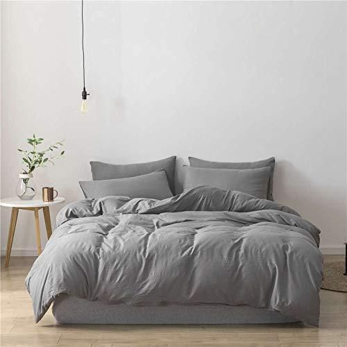 ZISITA Juego de ropa de cama de satén con tiras de lujo, suave para el hogar, ropa de cama y fundas de edredón, color gris oscuro, tamaño King