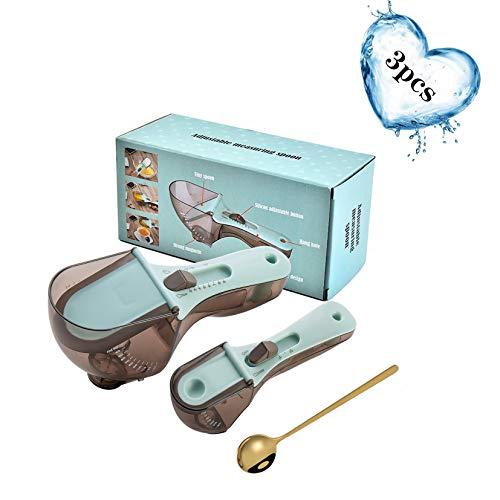TC00ME 3PCS Adjustable Measuring Cups and Spoons Sets Kitchen Tool Plastic Markings Magnetic Plastic Spoon Large Tablespoon amp Small Teaspoon Measurements for Solid/Powder/Liquid