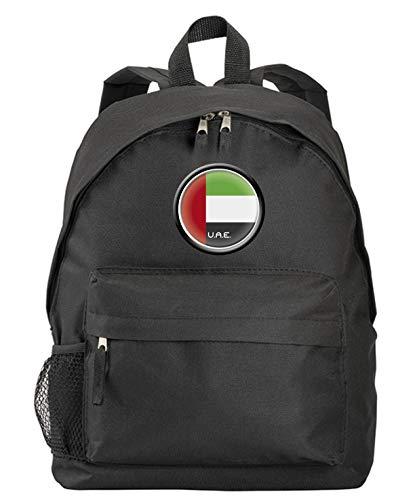 Mochila negra Emiratos Árabes con bandera y escudo sintético con bolsillos con cremallera y tirantes