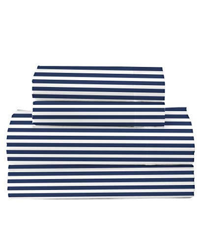 Feather & Stitch 300 Thread Count 100% Cotton Sheet Set, Soft Percale Weave,Queen Sheets, Deep Pockets,Hotel Collection,Luxury Bedding Super Sale 100% Cotton (OxfrdStripe02, King)