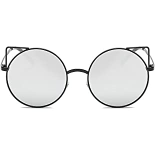 Unisex Sunglasses,Classic Twin-Beams Metal Frame Luxury Cat Eye Mirror Fashion Chic Shades Acetate Frame UV Glasses (black-silver)
