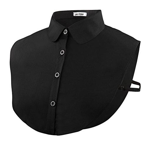 Wearlizer Frauen Kragen Abnehmbare Hälfte Shirt Bluse In Baumwolle Schwarz