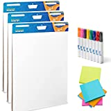 3 Large Easel Paper Pads – Complete Set of Flip Chart Paper With Markers And Sticky Notes – Post It Chart Paper